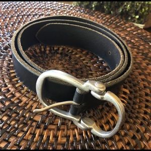 Banana republic dark brown leather and brass belt